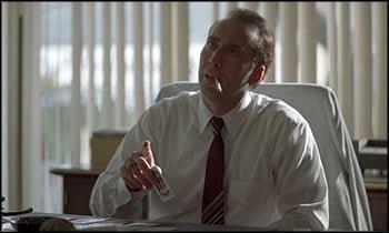 Nicolas Cage smoking in