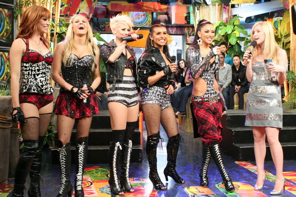 The Pussycat Dolls with MuchMusic VJ Leah Miller