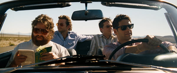 Justin Bartha, Bradley Cooper, Ed Helms, and Zach Galfianakis in The Hangover