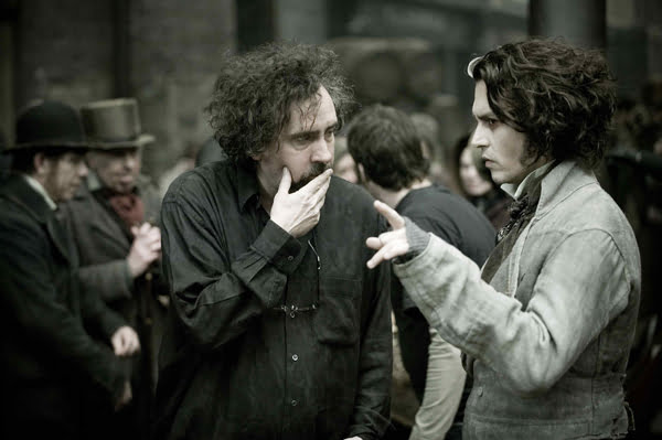 Tim Burton and Johnny Depp on the set of Sweeney Todd