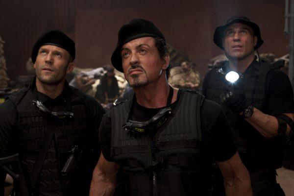 Jason Statham, Sylvester Stallone and Randy Couture in The Expendables
