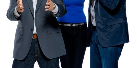 The hosts of Wipeout Canada: Ennis Esmer, Jessica Phillips and Jonathan Torrens