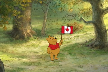Winnie the Pooh shows off his Canadian pride