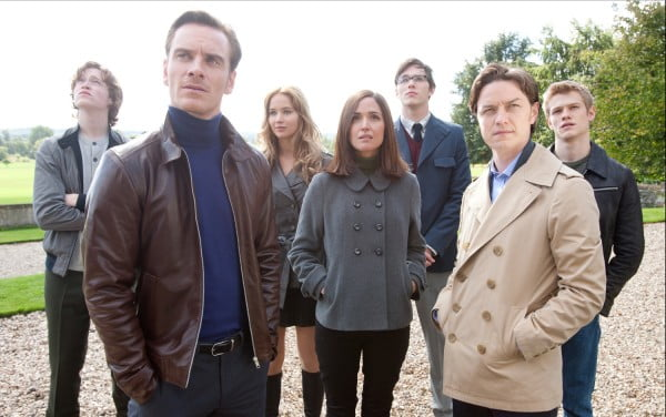 The cast of X-Men: First Class, including Michael Fassbender and James McAvoy