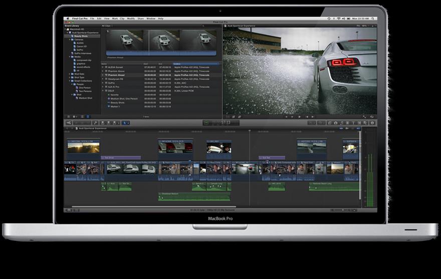 Final Cut Pro on a MacBook Pro