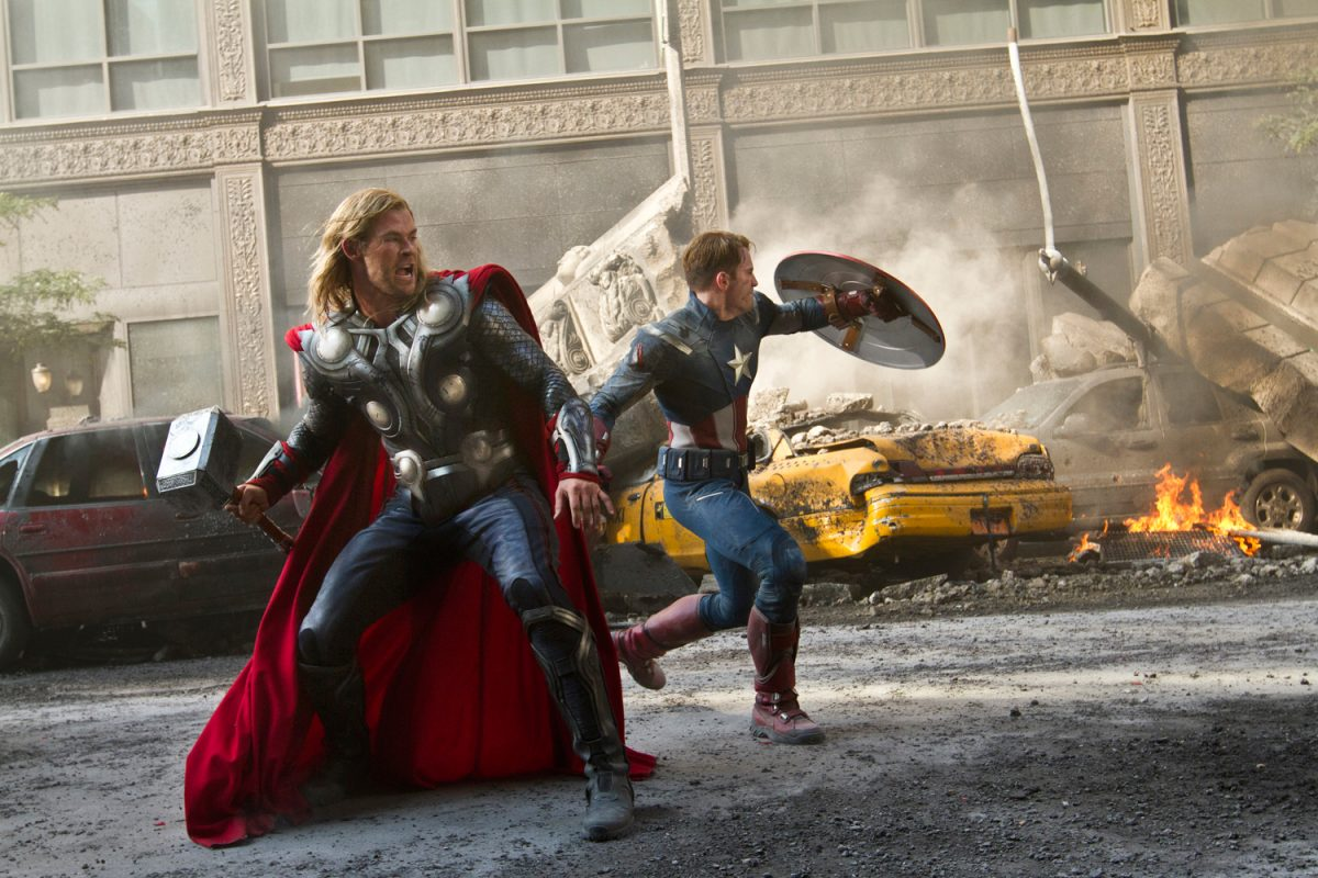 Chris Hemsworth as Thor and Chris Evans as Captain America