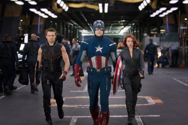 Jeremy Renner, Chris Evans and Scarlett Johansson