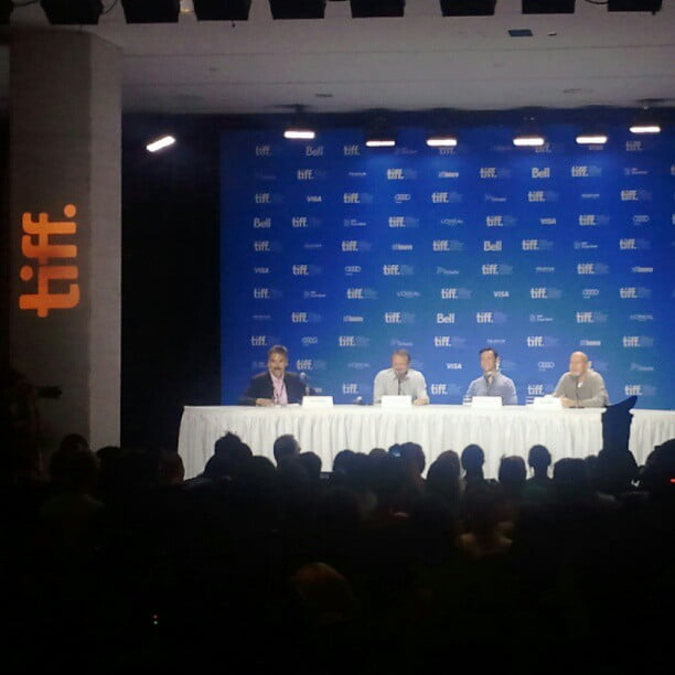Photo: At the #TIFF12 press conference for Looper with Rian Johnson, Bruce Willis and Joseph Gordon Levitt.