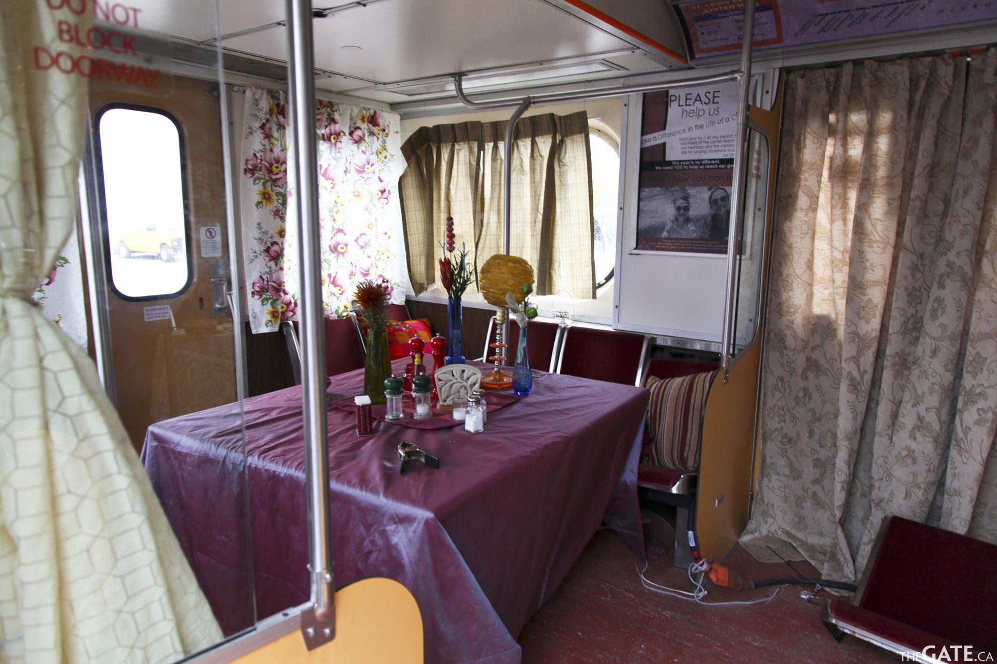 Inside the train cafe