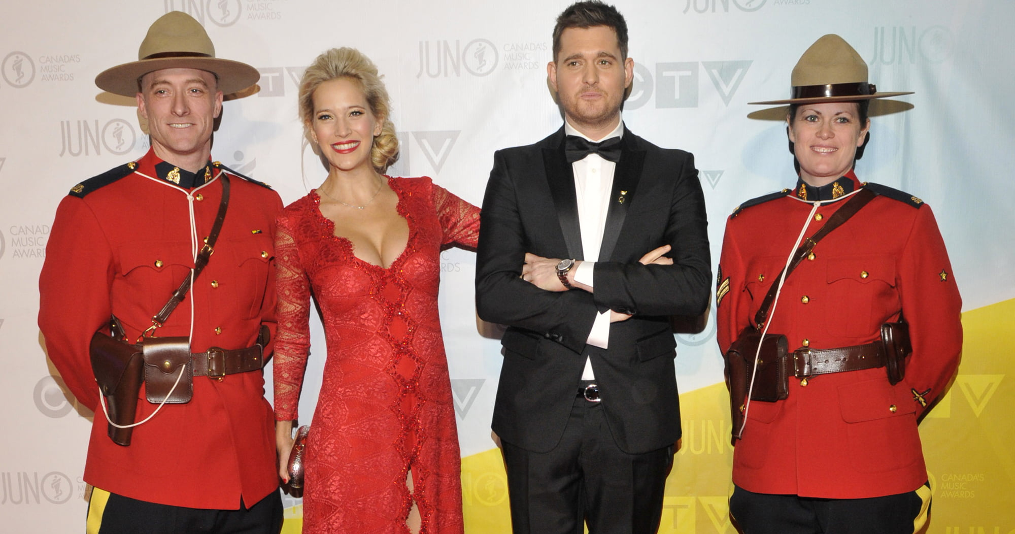 Host Michael Buble and wife Louisana Lopilato