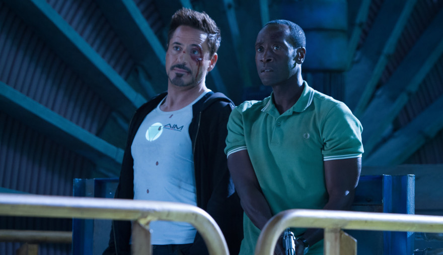 Robert Downey Jr. and Don Cheadle in Iron Man 3