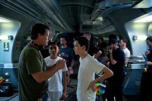 Gaving Hood with Ender's Game stars Suraj Partha and Asa Butterfield
