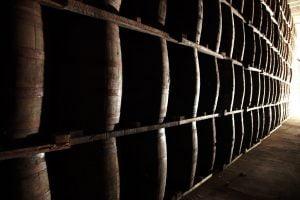 Barrels at the aging facility
