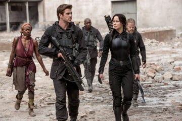 Liam Hemsworth and Jennifer Lawrence in The Hunger Games: Mockingjay - Part 1