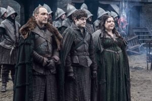 Michael McElhatton, Iwan Rheon and Elizabeth Webster