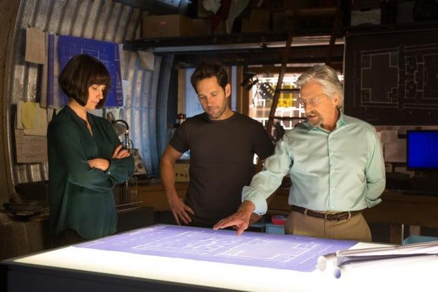 Hope Van Dyne (Evangeline Lilly), Scott Lang/Ant-Man (Paul Rudd) and Hank Pym (Michael Douglas)
