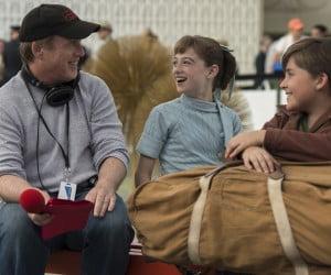 Brad Bird, Raffey Cassidy, and Thomas Robinson on the set of Tomorrowland