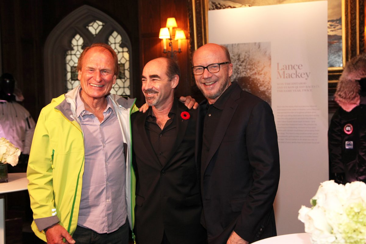 Climber Laurie Skreslet, Canada Goose CMO Kevin Spreekmeester, and director Paul Haggis
