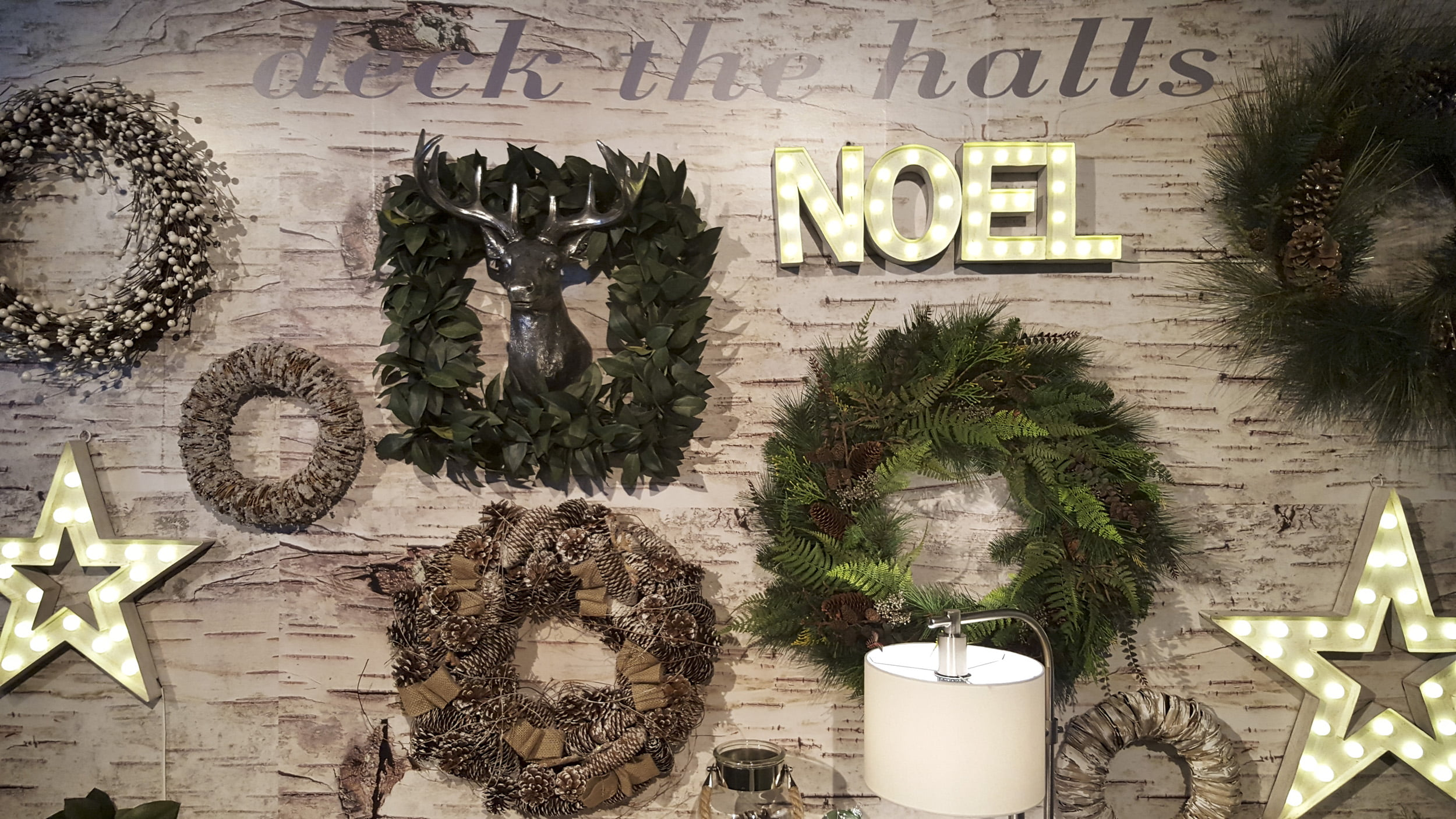 Canadian Tire holiday wreath wall