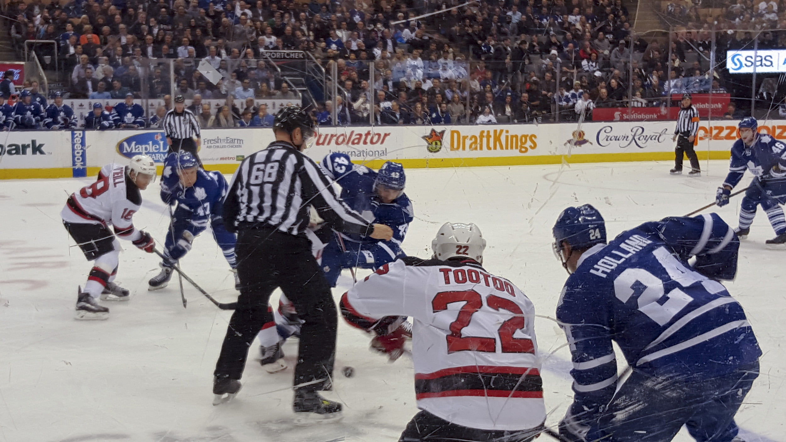 Toronto Maple Leafs versus the New Jersey Devils