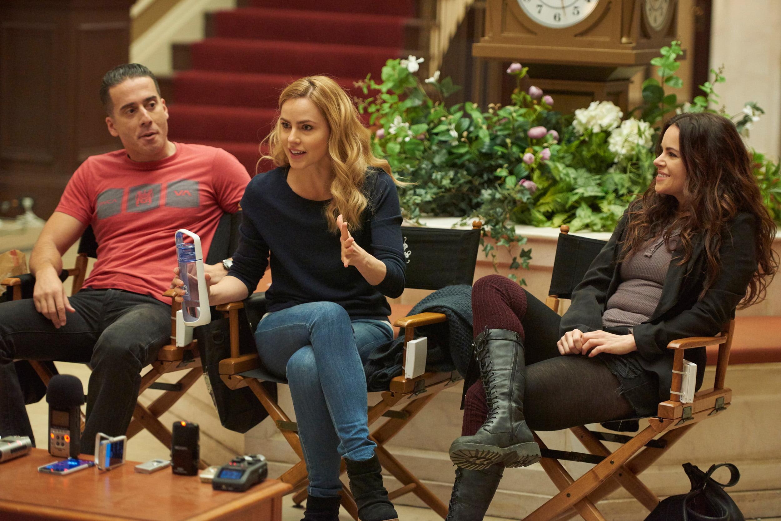 Kirk Acevedo, Amanda Schull, and Emily Hampshire