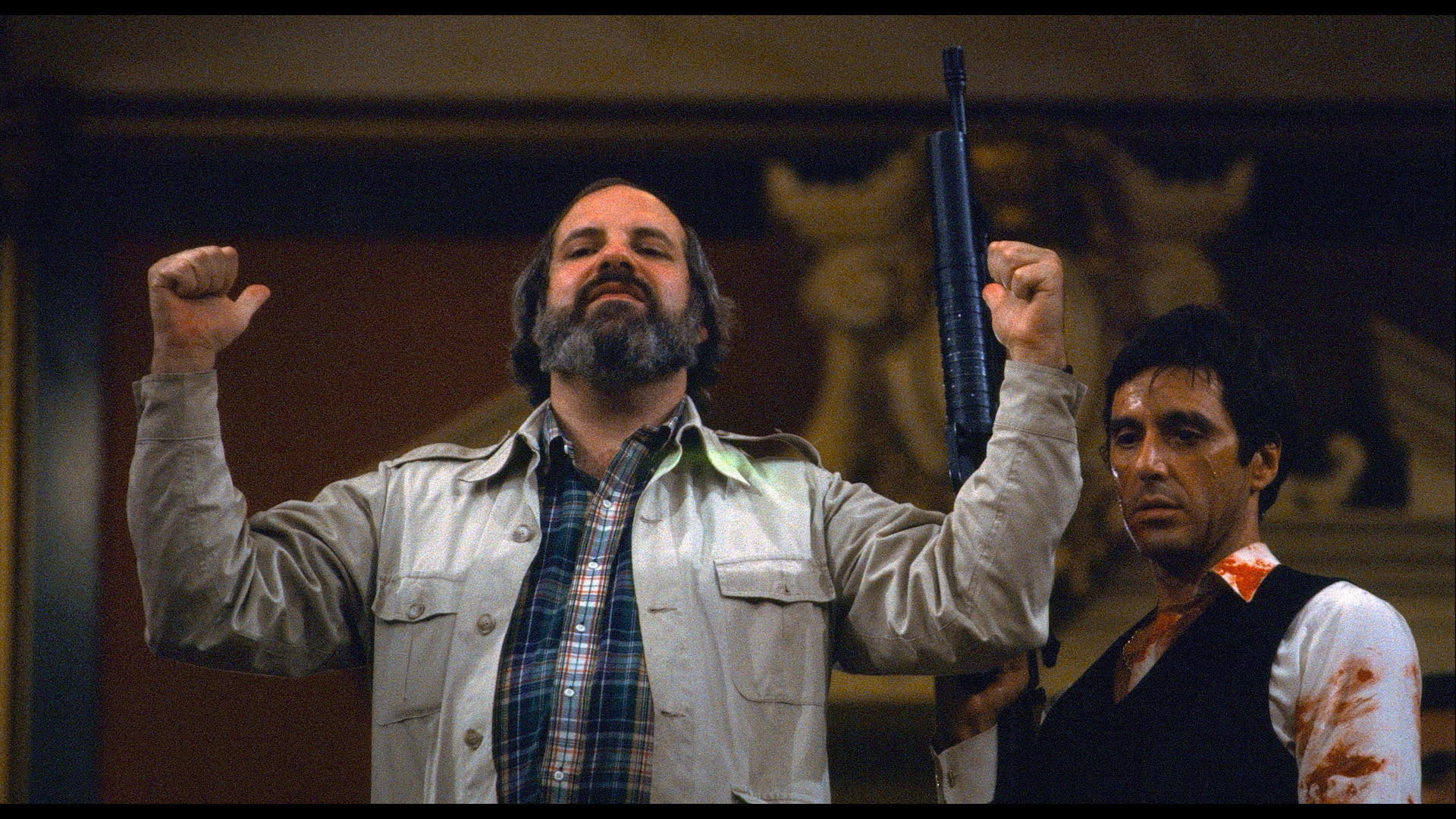 Brian De Palma and Al Pacino on the set of Scarface