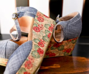 Chambray Women's Floral Cork Platform Wedges