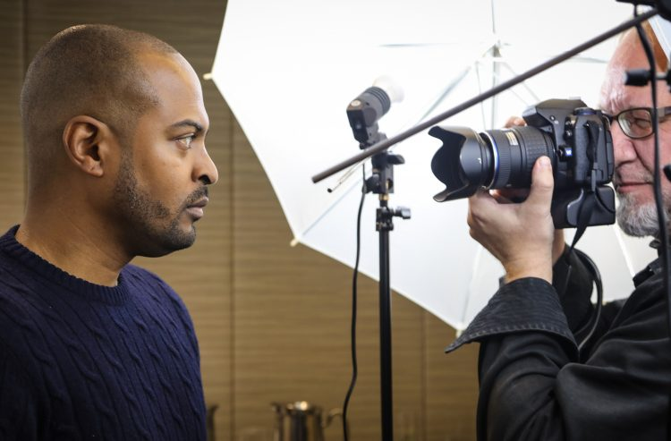 Noel Clarke being photographed by Rick McGinnis