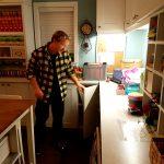 John Fawcett in Alison's craft room