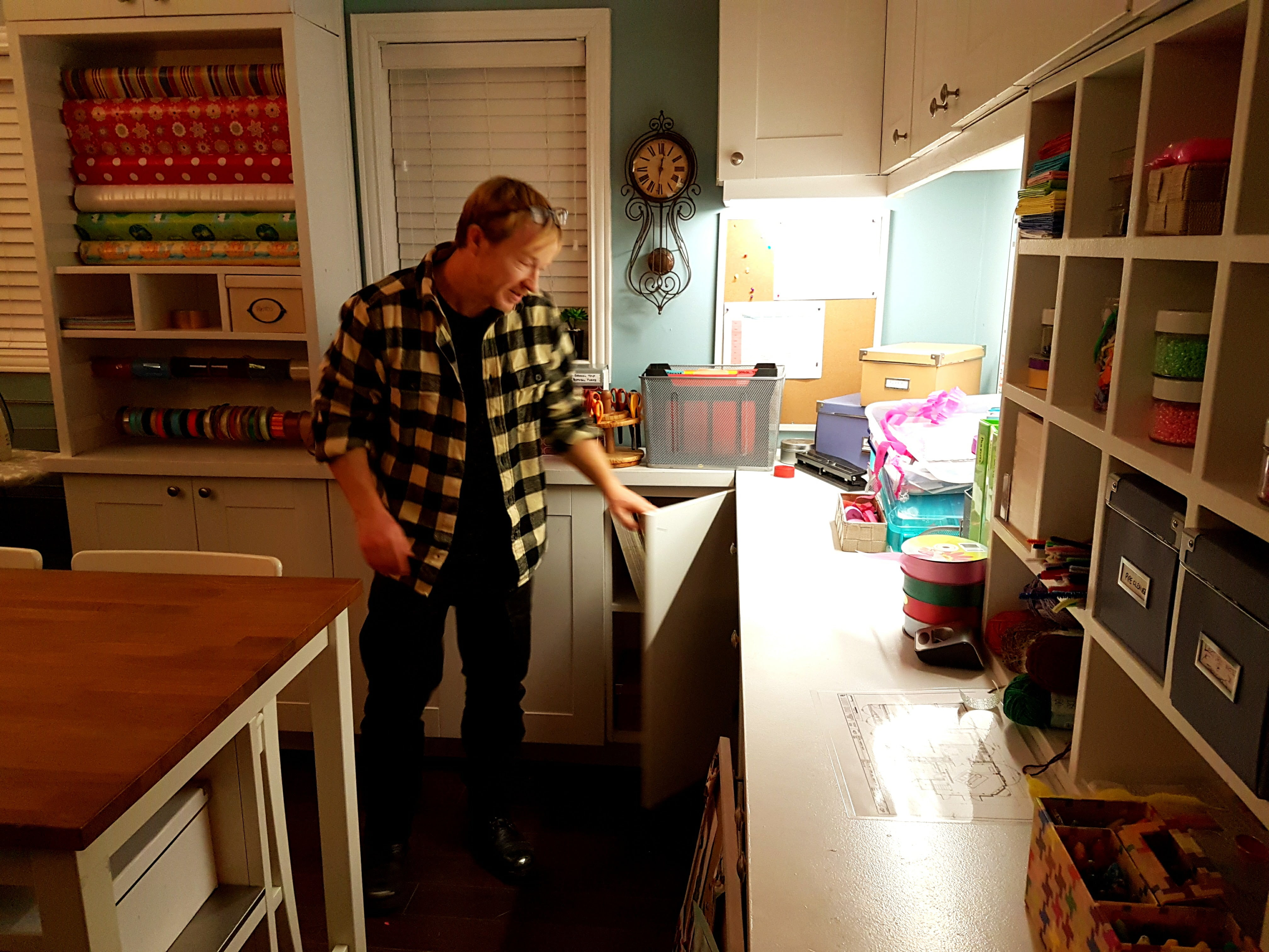 John Fawcett in Alison's craft room