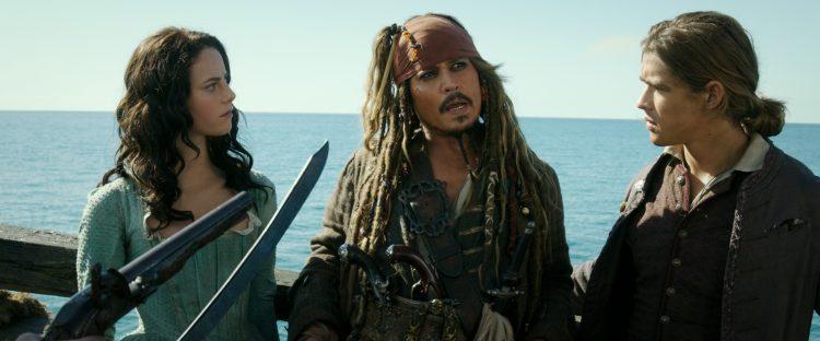 Carina Smyth (Kaya Scodelario), Captain Jack Sparrow (Johnny Depp) and Henry Turner (Brenton Thwaites)