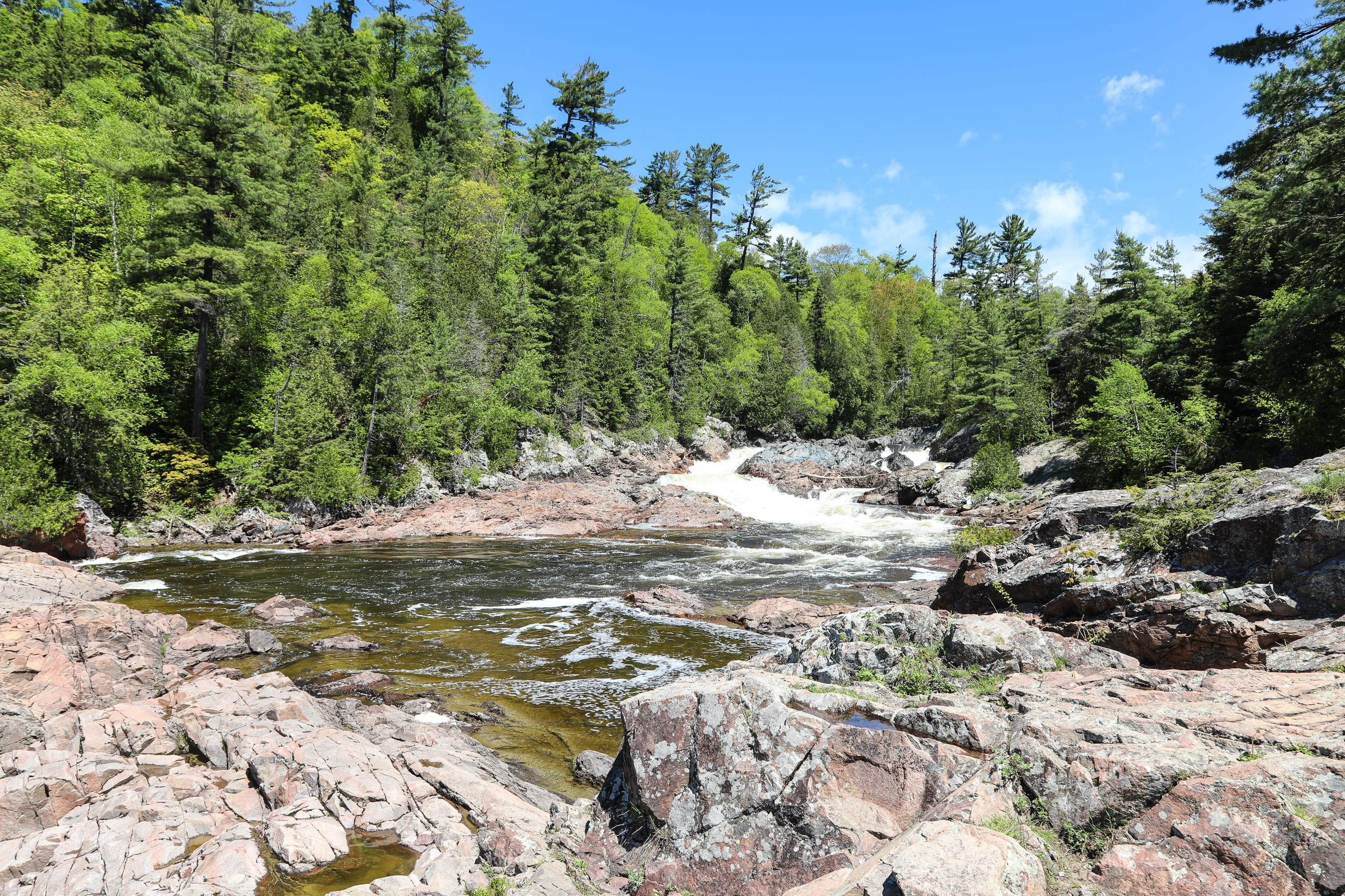 Water falls near the Trans-Canada Highway