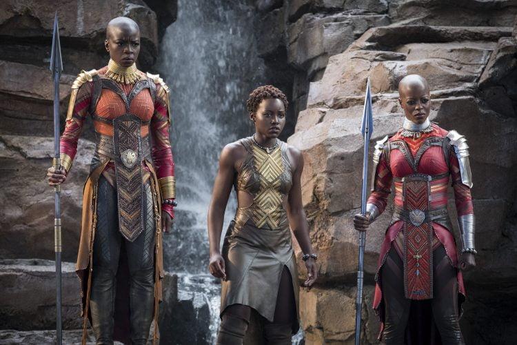 Okoye (Danai Gurira), Nakia (Lupita Nyong'o) and Ayo (Florence Kasumba)