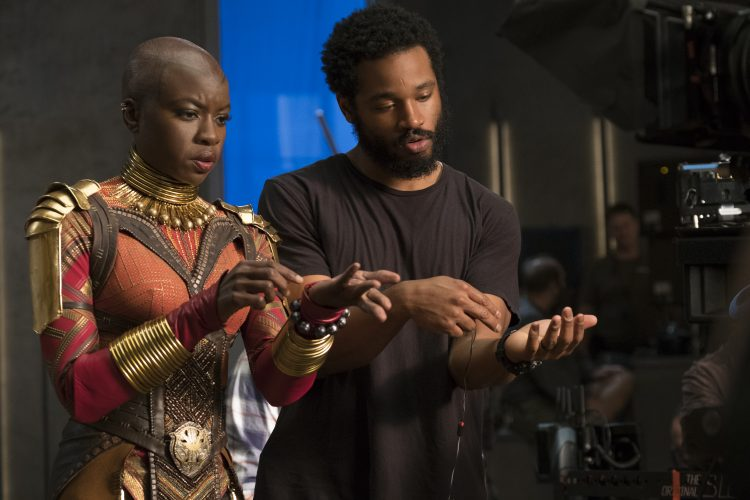 Danai Gurira (Okoye) on set with Director Ryan Coogler in Black Panther