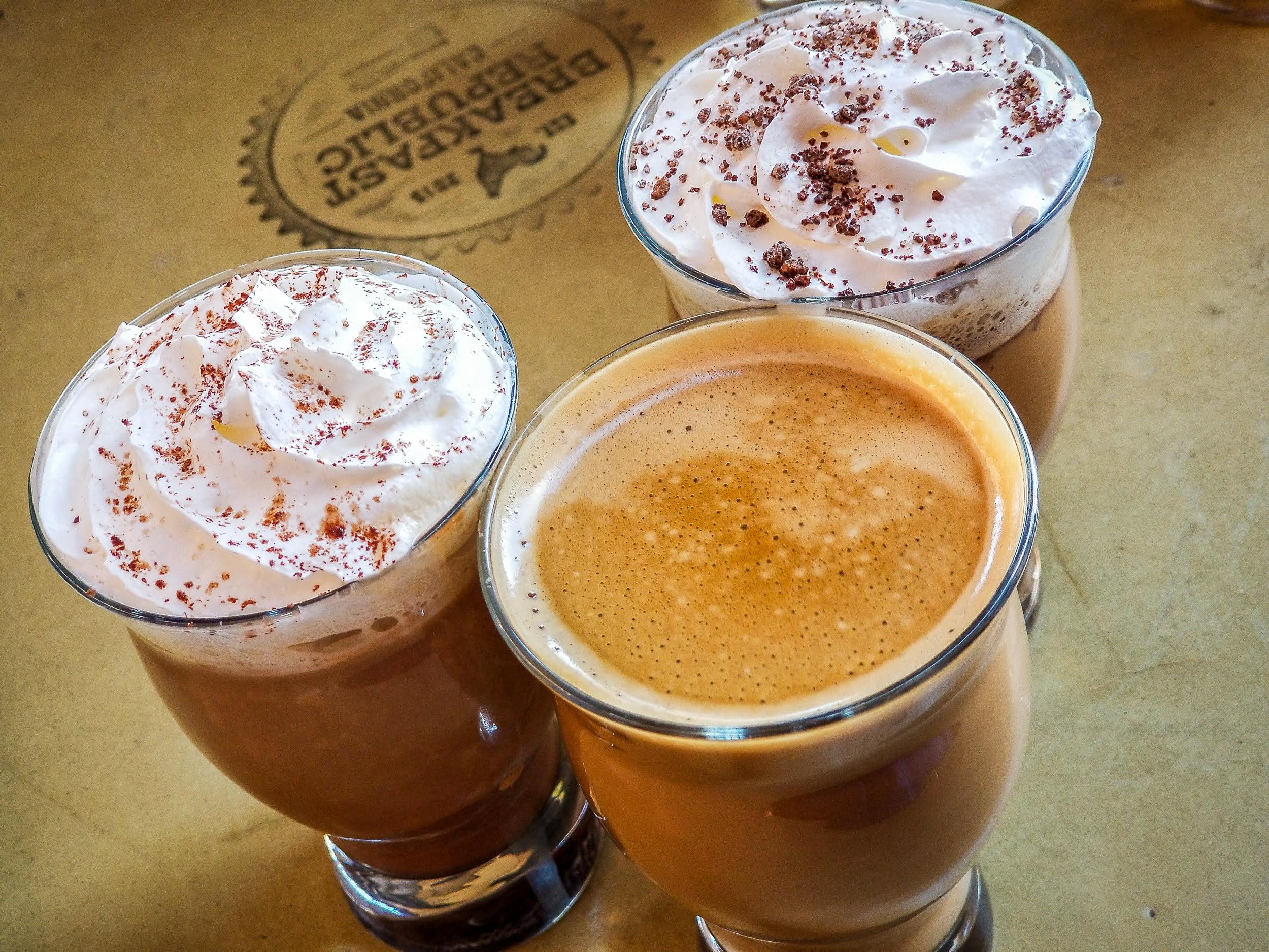 Coffee trio at Breakfast Republic