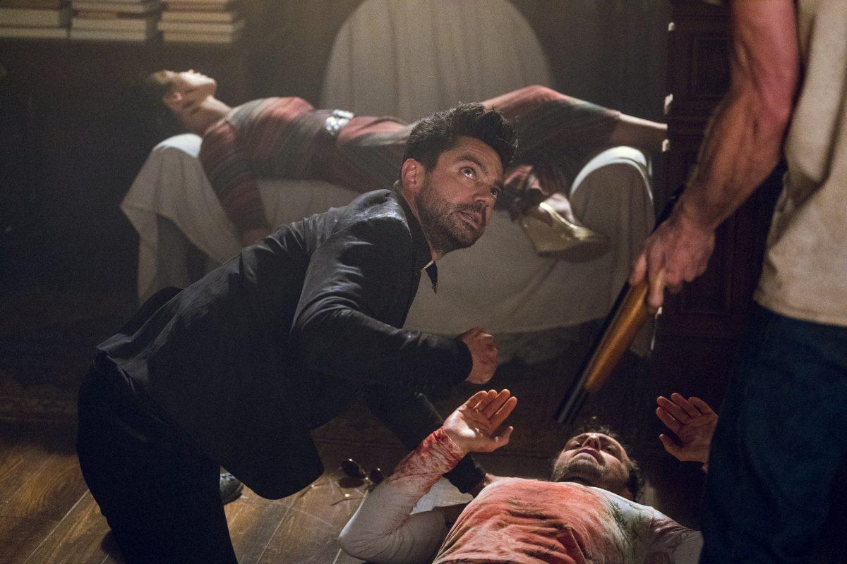 Dominic Cooper as Jesse Custer, Colin Cunningham as TC, Joseph Gilgun as Cassidy, Ruth Negga as Tulip O'Hare