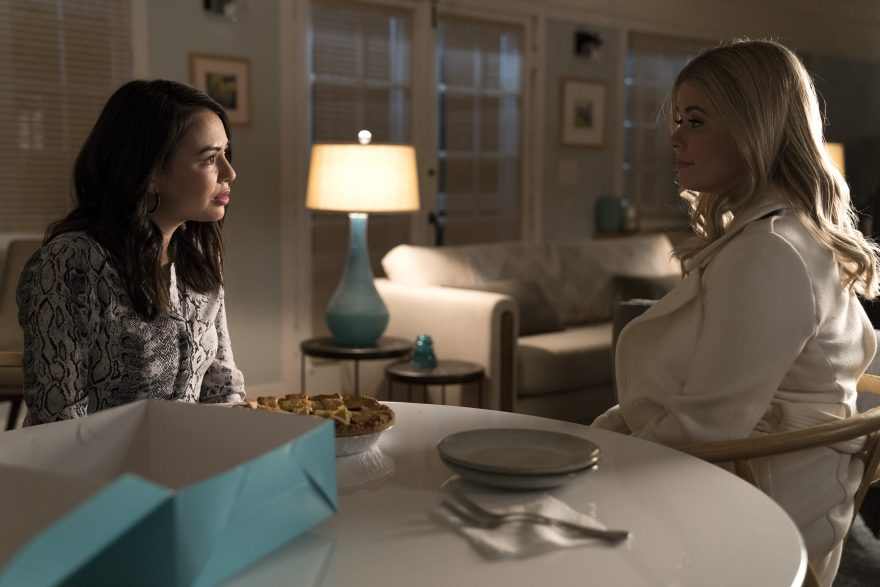 Janel Parrish and Sasha Pieterse in Pretty Little Liars: The Perfectionists