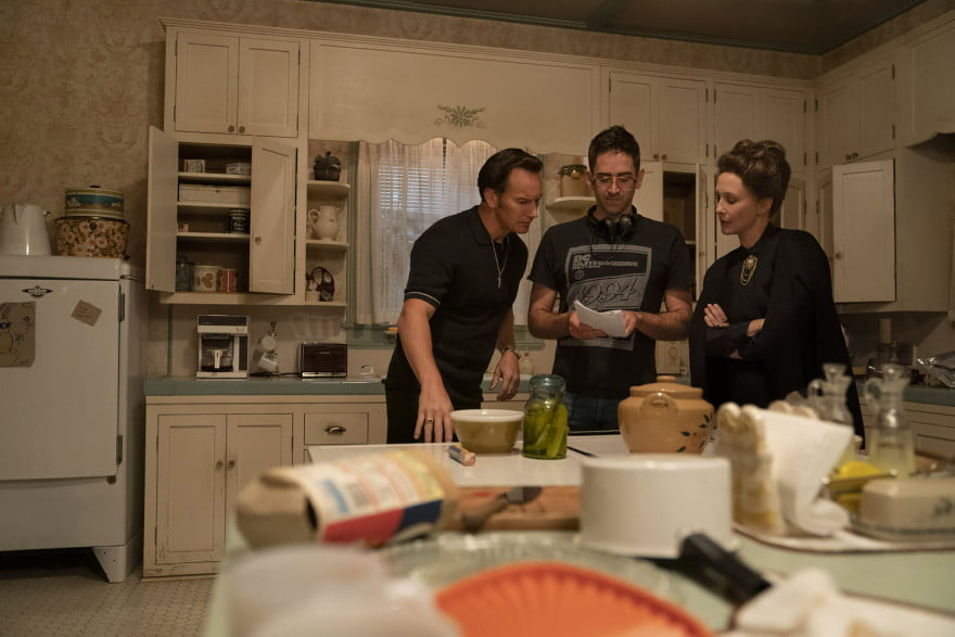 PATRICK WILSON, Director MICHAEL CHAVES and VERA FARMIGA on the set of The Conjuring: The Devil Made Me Do It