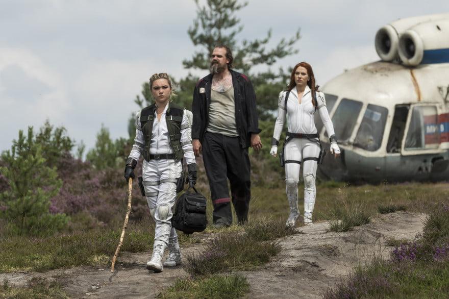 Florence Pugh, David Harbour, and Scarlett Johansson