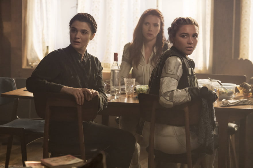 Rachel Weisz, Scarlett Johansson, and Florence Pugh in Black Widow